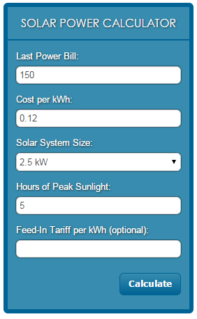 Solar Power Website Widgets -